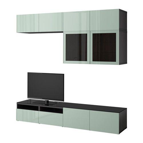 BESTÅ TV storage combination/glass doors - black-brown Selsviken/high-gloss/light gray-green clear glass, drawer runner, push-open - IKEA