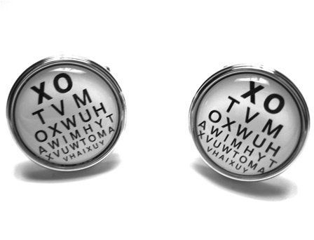 Eye Doctor Optometrist Vision Reading Chart Cufflinks CuffCrazy. $29.99. Set in a silver bullet back setting!. Money Back if not 100% Satisfied!. Free Gift Box Included!