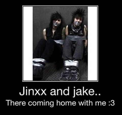 "Black Veil Brides ~ Jake Pitts and Jinxx ;)  OK, the Grammar Nazi in me insists on saying ""THEY'RE"""