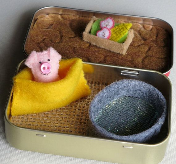 Pig play set miniature felt in Altoid tin with mud bath, food trough, snuggle bag and pink plush pig