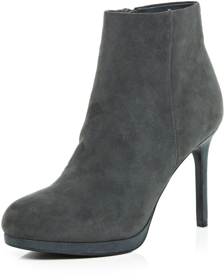 Pin for Later: Put Your Best Foot Forward in Autumn's Most Stylish Ankle Boots River Island Grey Suede Platform Ankle Boots River Island Grey Suede Platform Ankle Boots (£65)
