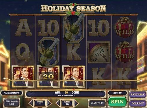Holiday Season в онлайн казино с выводом денег  Онлайн игра Holiday Season поможет ощутить атмосферу зимних праздников в лучших казино. В ней вы будете получать моментальные денежные выплаты, составляя комбинации на 5 барабанах и 10 линиях. А вывод крупных призов обеспечат беспроигрышные фриспины.