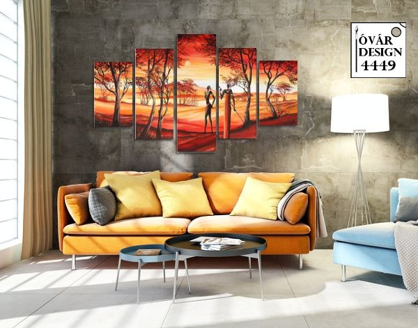A melegséget árasztó színek, egy csipet afrikai hangulattal elvarázsolja nappalid hangulatát. Dekor festmények az otthonodban