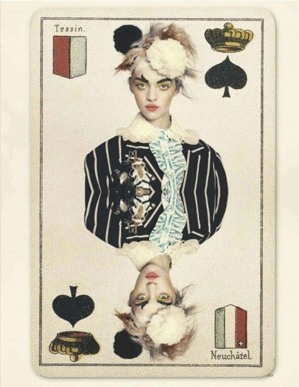 """Magda Laguinge """"Jokers Wild"""" Vogue UK April 2012 photographed by Paolo Roversi styled by Lucinda Chambers"""