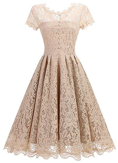d8943a2b432d3 Tecrio Women Elegant Vintage Floral Lace Capshoulder Cocktail Party Swing  Dress (Large