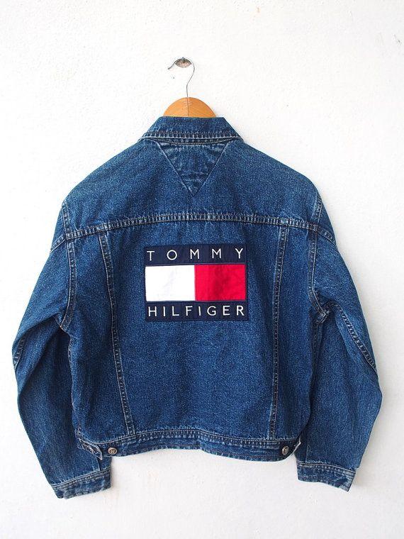 Vintage des années 90 TOMMY Hilfiger gros Logo 80 s Hip Hop broderie femmes bou... 2