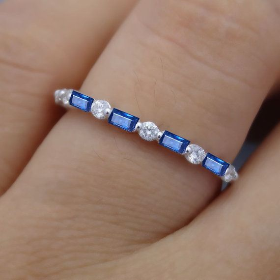 Sapphire and Diamond Band, Round and Baguette Cut Wedding Band, Ruby and Diamond Band
