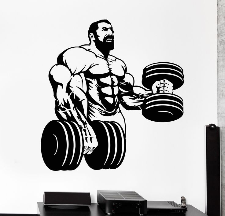 Vinyl Wall Decal Powerlifting Gym Beautiful Body Muscle Man Fitness Trainer Stickers Unique Gift (742ig)