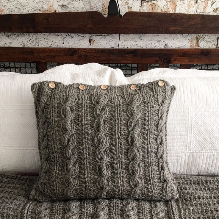 """If you love shopping for rustic or vintage beauties, and would like """"must have"""" in the cold weather, - there you go-hand knitted pillowcase from real sheep wool. Not treated in any chemicals."""
