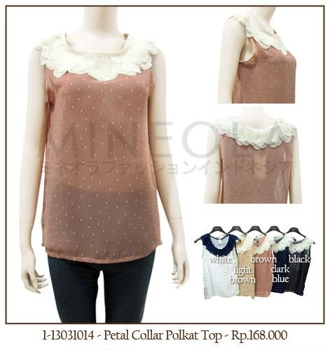 #MINEOLA Petal Collar Polka Top Brown. Also available in white, light brown, dark blue, and black color. Get this for only Rp.188.000,-   Fabrics: polyester Product code: 1-13031014 Bust: 92cm - Length: 61cm