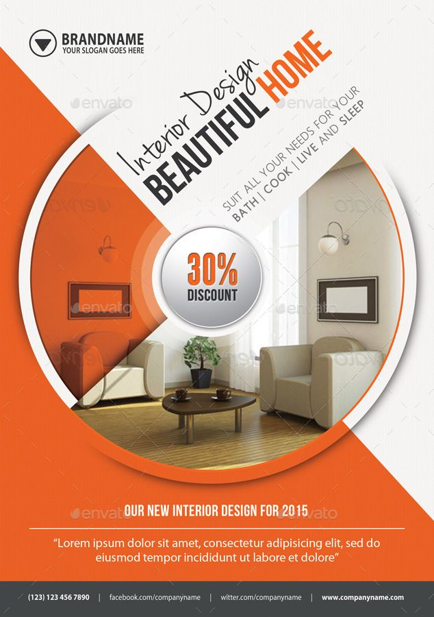 4 In 1 Interior Design Banners Flyer Business Card With Images