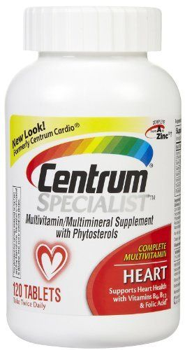 Centrum Specialist Heart, 120 Count by Centrum. $16.99. Amazon.com Product Description      New Centrum Specialist Heart gives you complete confidence that you've made a smart choice for your heart and overall health.*  Customized formula to help maintain a healthy heart Centrum Specialist Heart BenefitsNew Centrum Specialist Heart is a complete multivitamin specially enhanced with B-vitamins, including folic acid, antioxidants and other key nutrients. It helps ...