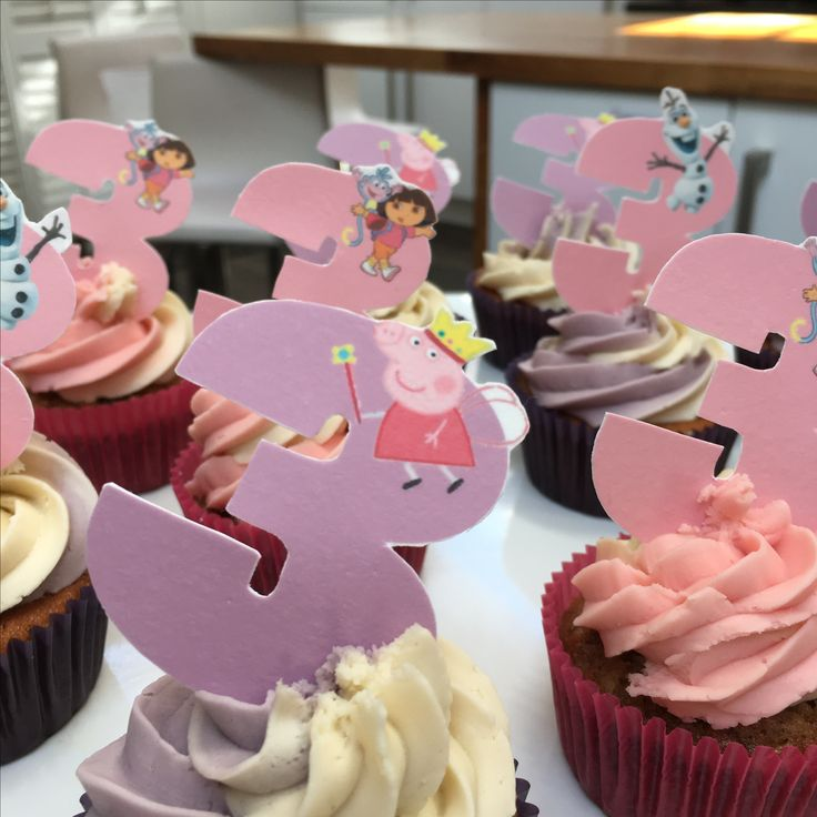 Personalised cup cakes.   No. 3 edible paper with Disney cartoon characters. The Cake Lab Bakery, Ranelagh, Dublin, Ireland. Artisan Baking Studio.