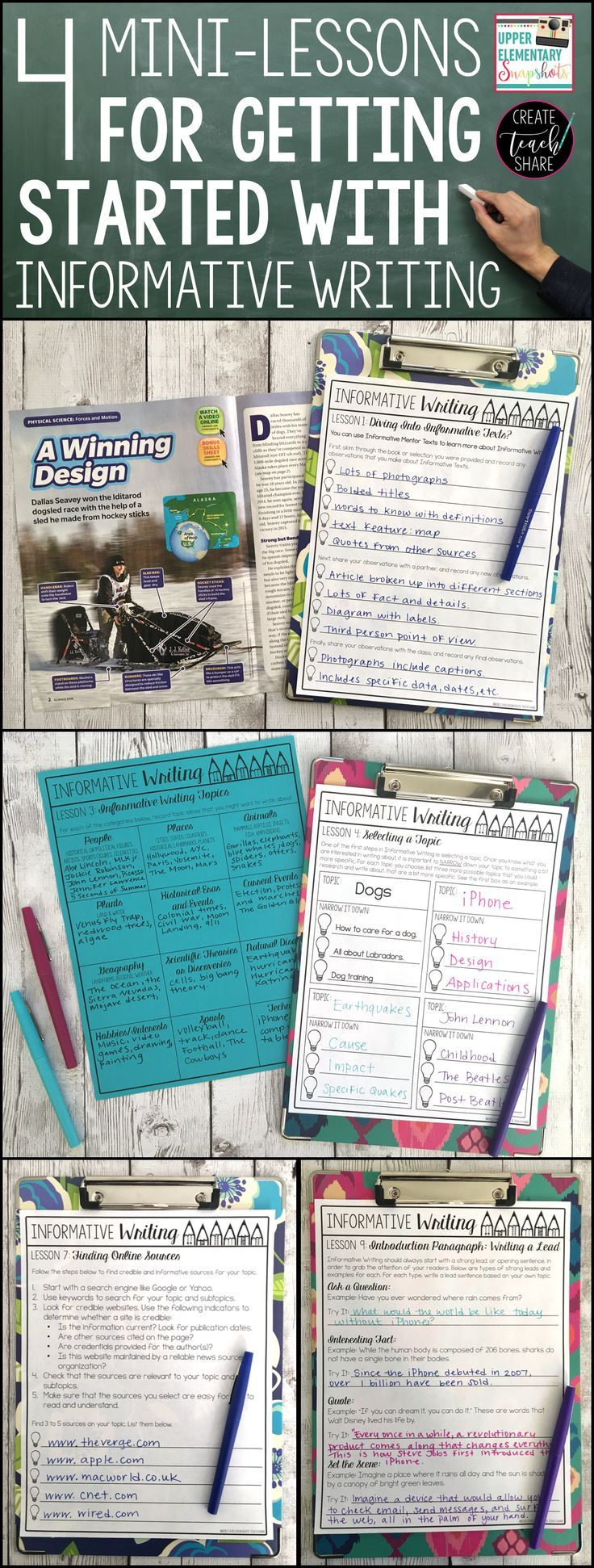 4 Mini-Lesson for getting started with teaching informative writing to students in upper elementary. Perfect for grades 3rd, 4th, and 5th.