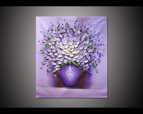 Framed 24×32 inches Hand-painted home decor hang wall art picture White purple flower vase thick palette knife canvas oil painting By Lisa