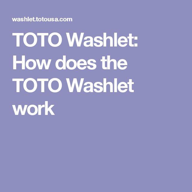 TOTO Washlet: How does the TOTO Washlet work