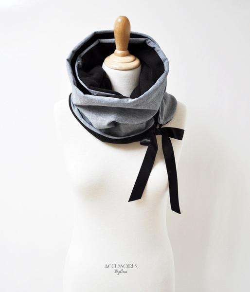 Loop scarf, fleece and jeans / Snood, Écharpe et col en polaire et coton façon Jeans.