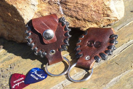Leather key chain guitar pick holder by DEADSKIN on Etsy