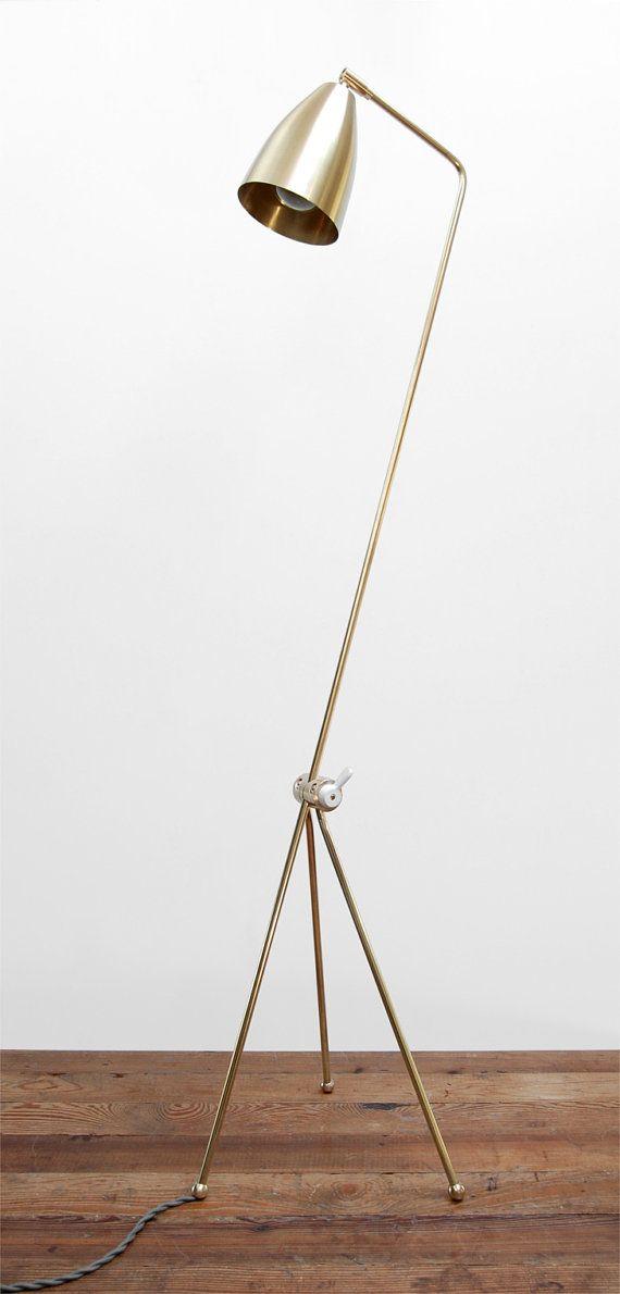 Milieu du siècle moderne en laiton massif sauterelle Lampadaire - liseuse lumière réglable pour canapé / chaise / chevet - le « BrassHopper »