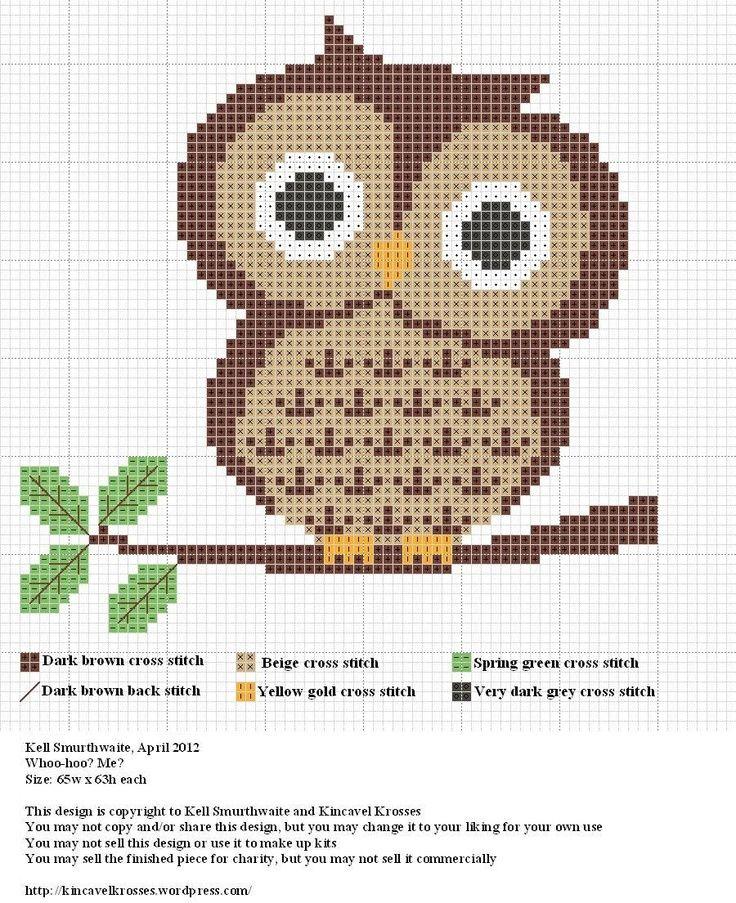 Owl cross stitch pattern                                                                                                                                                      Mais