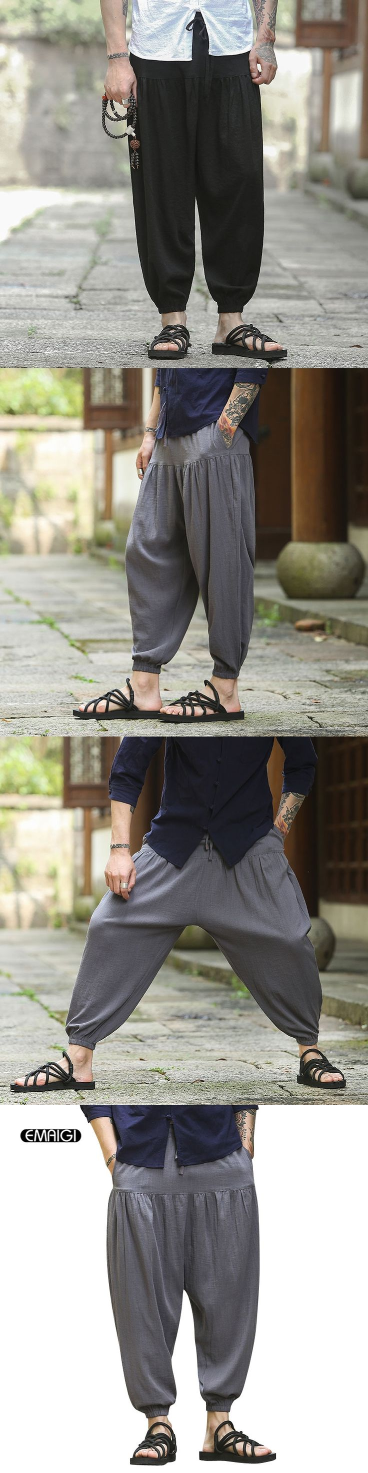 Nepal Style Men Women Loose Casual Pants Cotton Linen Punk Male Wide Leg Skirt Pants Solid Color Thin Trousers