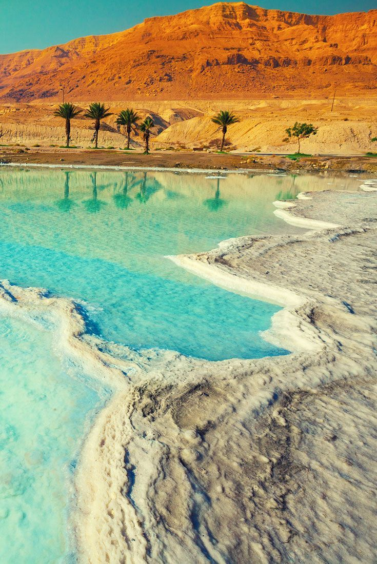 Turquoise lagoons of salt and palm trees on the Dead Sea beach, Israel. Visiting the Dead Sea - The Complete guide that will help you make the most of your visit on the Israeli side of the saltiest lake in the lowest place on earth. Including the best free beaches, safety guidelines and more.