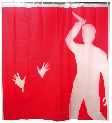 PSYCHO+SHOWER+CURTAIN+-+This+Pyscho+inspired+shower+curtain+pays+homage+to+one+of+cinema's+greatest+flicks!+No+one+ever+forgets+the+famous+shower+scene!+This+blood+red+shower+curtain+features+negative+space+that+re-creates+a+murder+scene+inspired+by+Hitchcock's+movie.