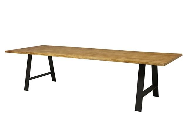 Brooklyn Trestle Dining Table in Rustic Teak/Anthracite Bronze #globewest #furniture #dining #table #style #contemporary