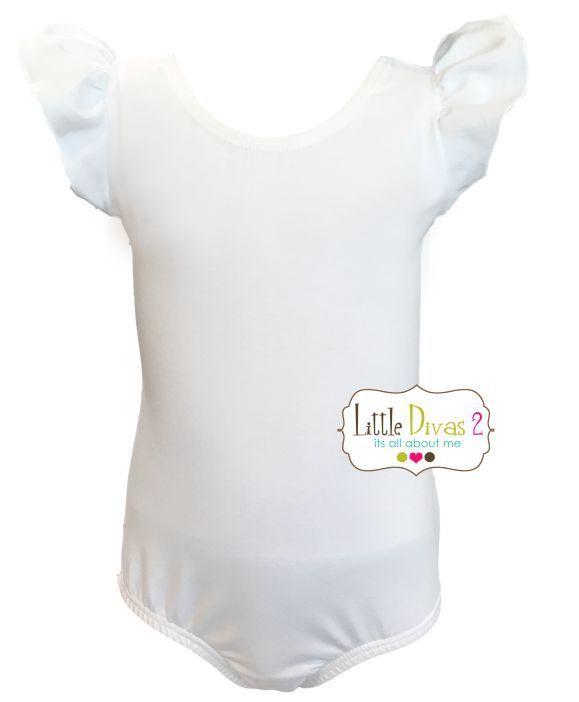 WHITE LEOTARD (Child) Flutter/Ruffle Sleeve