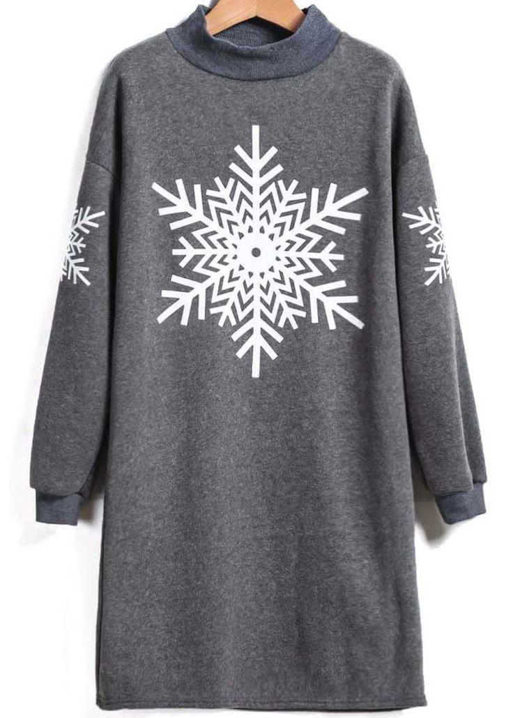 Grey Long Sleeve Snowflake  Print Loose T-Shirt