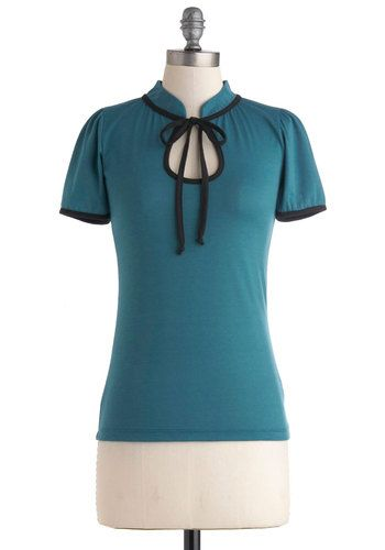 Make the Most of It Top in Teal - Mid-length, Blue, Black, Solid, Bows, Work, Short Sleeves
