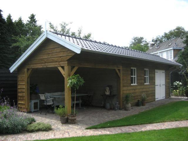 2. Traditionele schuur met overkapping veranda tuinkamer 37m2