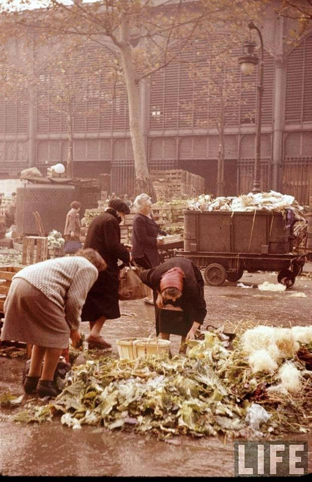 "Colour Photos of the Legendary Parisian Food Market, Les Halles in 1956; It was known as the ""Belly of Paris"", as famously christened by the French novelist Émile Zola; Les Halles was the food market of 19th century Paris"