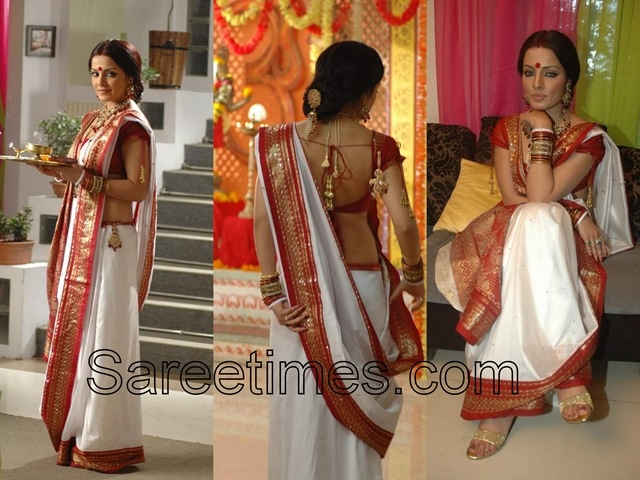 traditional white red saree Bengali style for dodhi mongol (light curd meal in the morning of your wedding day)