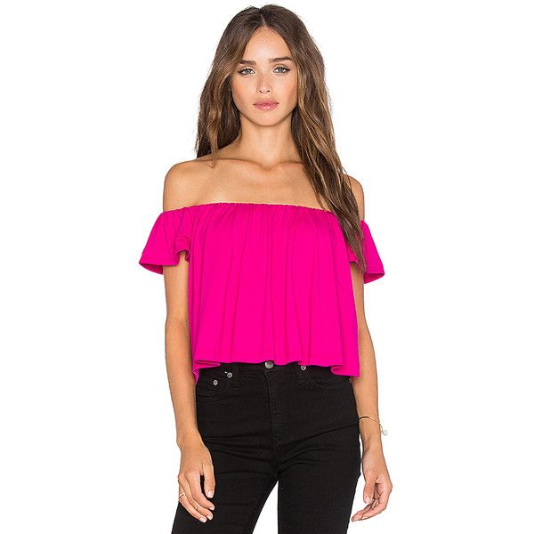Susana Monaco Off the Shoulder Crop Top Tops (1.493.970 IDR) ❤ liked on Polyvore featuring tops, fashion tops, pink crop top, susana monaco tops, susana monaco, pink top and pink off shoulder top