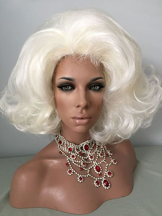 Drag Queen Wigs Flip Hair Spray White Blonde For