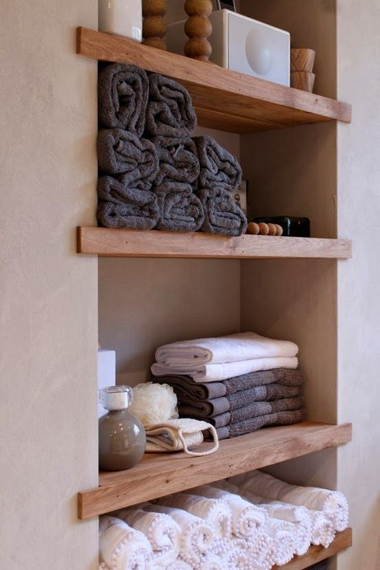 Between The Studs Storage - Adding More Storage to the Master Bathroom.  Wood Bathroom ShelvesBuilt ...