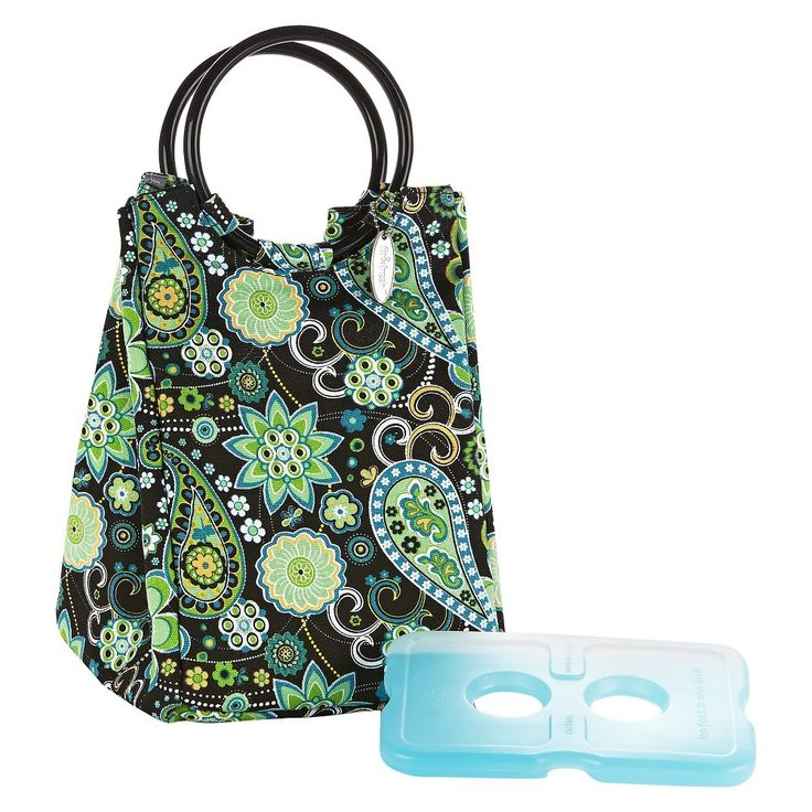 Fit & Fresh Retro Insulated Lunch Bag with Reusable Ice Pack - Green Paisley, Black
