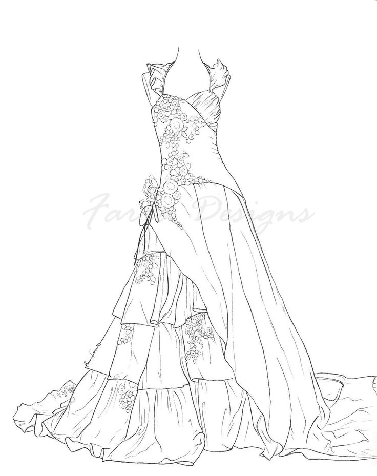 Wedding Dresses Coloring Pages Dress SketchesDisney Princess