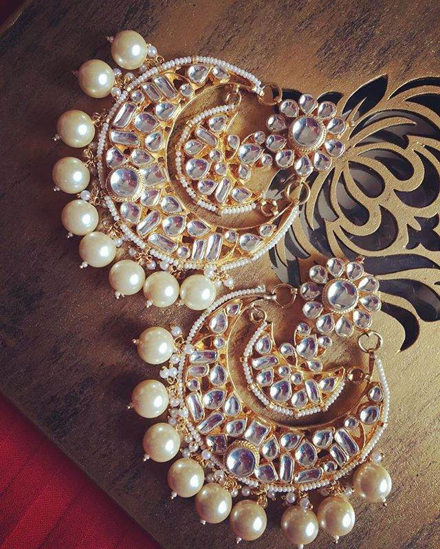Double chand earrings ! ❤️ #statementjewellery #indianfashion #festivecollection…