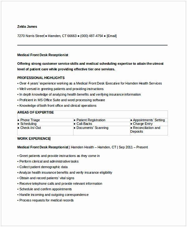 23 Front Desk Job Description Resume In 2020 Medical Assistant