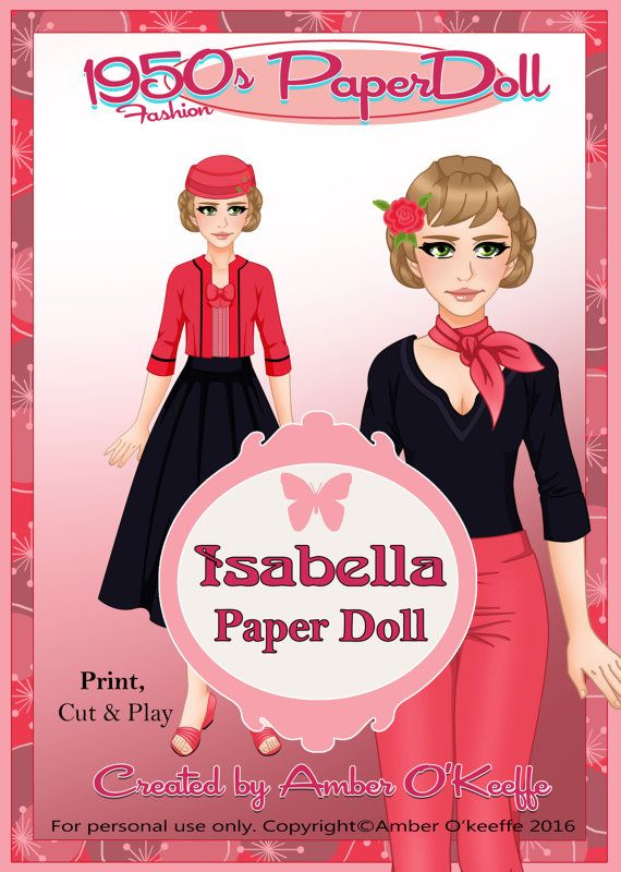 1950s Isabella Paper Doll Collection 4 by OkeeArts on Etsy
