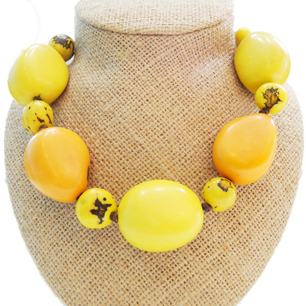 Indian Summer Necklace - Yellow by ladymosquito: Made of South American tagua nuts. #Necklace #ladymosquito