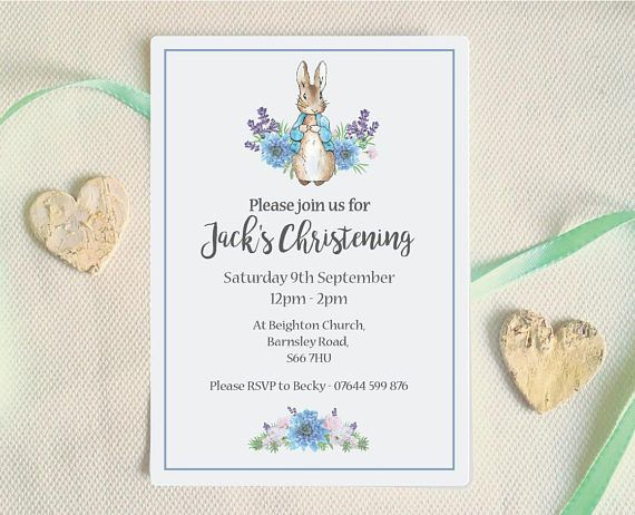BABY BOY Pack of 8 Peter Rabbit PERSONALISED CHRISTENING INVITES
