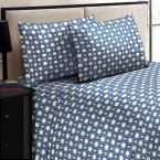 Jill Morgan Fashion Printed Square Navy Blue Microfiber Queen Sheet Set (4-Piece)