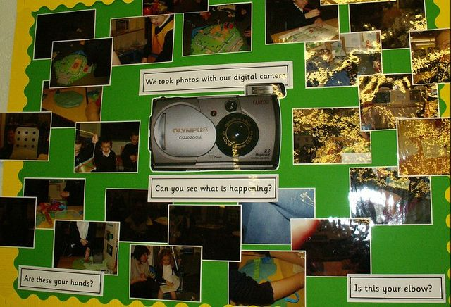 Give children a camera and make a display of the photos they take.