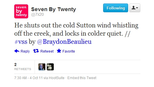 """Fiction:  """"Sutton Wind,"""" published on 7x20 (October 2011, originally published on escarp in August 2010)"""
