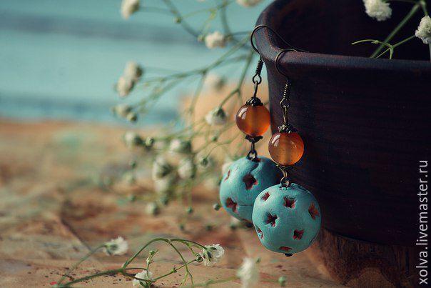 """Купить Серьги """"Деревенька"""" - бирюзовый, серьги, сережки, серьги ручной работы, керамические украшения"""