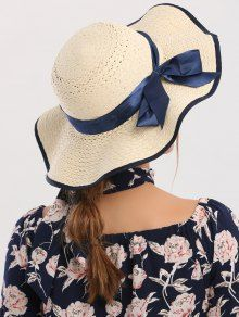 Woven Wide Brim Ribbon Bowknot Straw Hat
