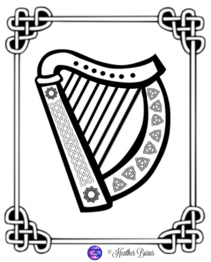celtic harp coloring printables